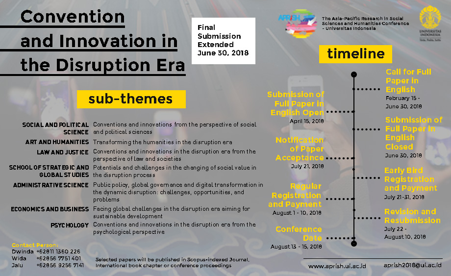Extended Submission APRiSH 2018  Call for Paper - The 3rd Asia