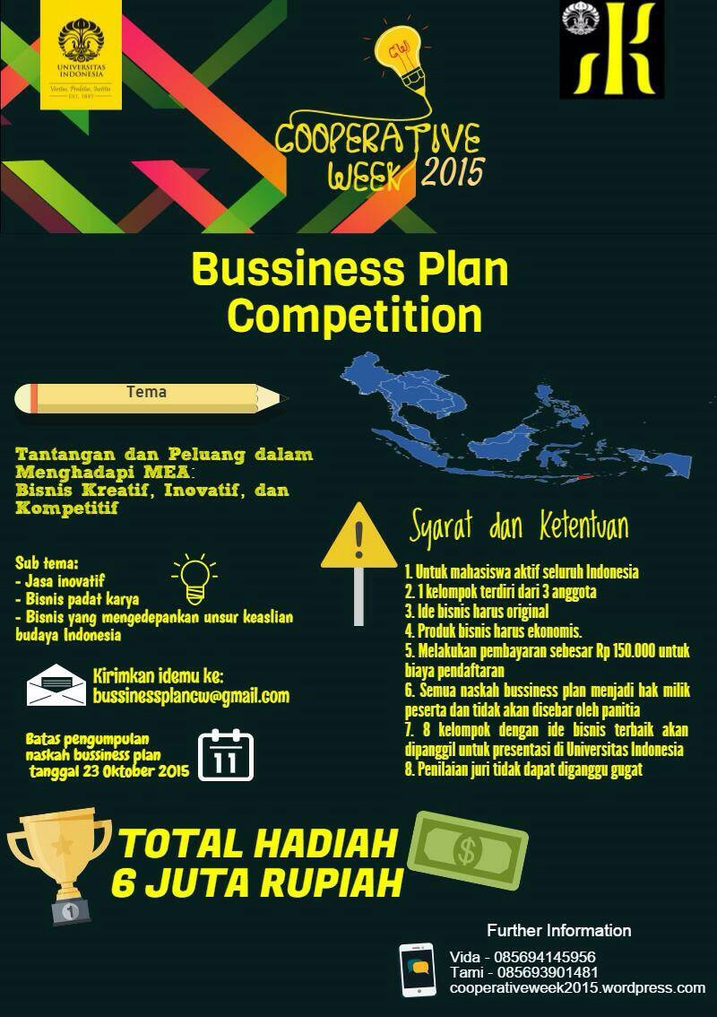 BUSINESS PLAN COMPETITION COOPERATIVE WEEK FIB UI 2015 ...