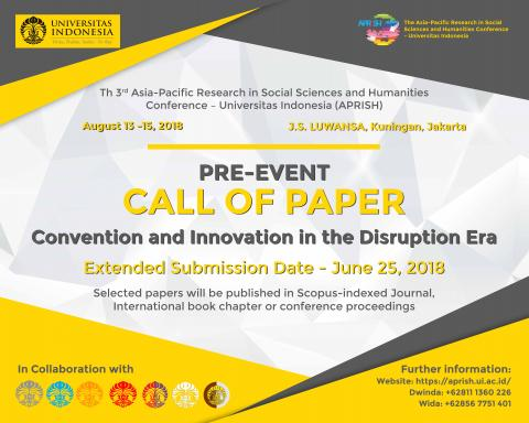 PRE- EVENT CALL of PAPER Convention and Innovation in the Disruption